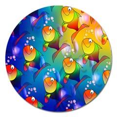 Fish Pattern Magnet 5  (Round) by Nexatart