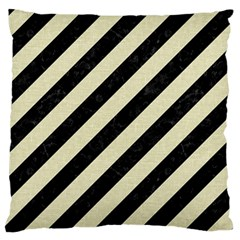 Stripes3 Black Marble & Beige Linen Large Flano Cushion Case (two Sides) by trendistuff