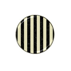 Stripes1 Black Marble & Beige Linen Hat Clip Ball Marker (10 Pack) by trendistuff