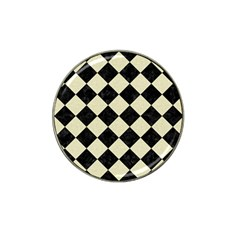 Square2 Black Marble & Beige Linen Hat Clip Ball Marker (10 Pack) by trendistuff