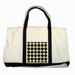 Square2 Black Marble & Beige Linen Two Tone Tote Bag by trendistuff