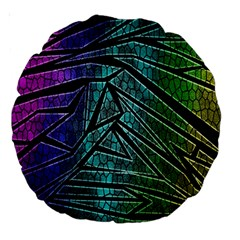 Abstract Background Rainbow Metal Large 18  Premium Round Cushions
