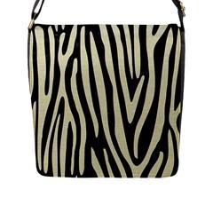 Skin4 Black Marble & Beige Linen (r) Flap Closure Messenger Bag (l) by trendistuff