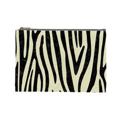 Skin4 Black Marble & Beige Linen Cosmetic Bag (large) by trendistuff