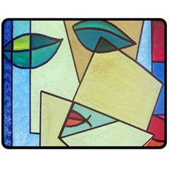 Abstract Art Face Fleece Blanket (medium)  by Nexatart