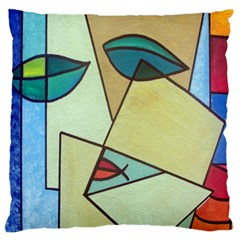 Abstract Art Face Large Flano Cushion Case (two Sides) by Nexatart