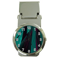 Abstract Green Purple Money Clip Watches by Nexatart