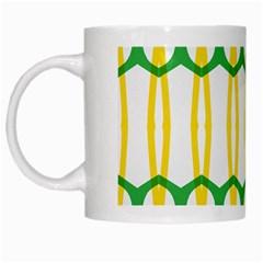 Green Yellow Shapes                                                                                                                   White Mug by LalyLauraFLM