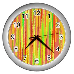 Paint Traces                                                 wall Clock (silver) by LalyLauraFLM