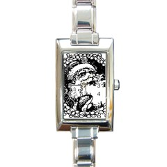 Santa Claus Christmas Holly Rectangle Italian Charm Watch by Nexatart