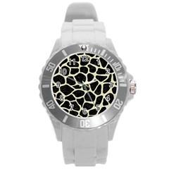 Skin1 Black Marble & Beige Linen (r) Round Plastic Sport Watch (l) by trendistuff