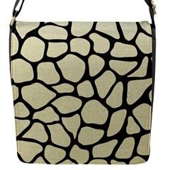 Skin1 Black Marble & Beige Linen Flap Closure Messenger Bag (s) by trendistuff
