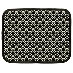 Scales2 Black Marble & Beige Linen Netbook Case (xl) by trendistuff