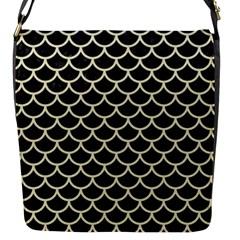 Scales1 Black Marble & Beige Linen Flap Closure Messenger Bag (s) by trendistuff