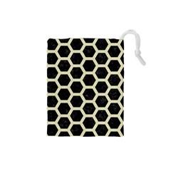 Hexagon2 Black Marble & Beige Linen Drawstring Pouch (small) by trendistuff