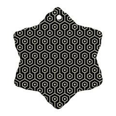 Hexagon1 Black Marble & Beige Linen Ornament (snowflake) by trendistuff