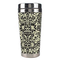 Damask2 Black Marble & Beige Linen (r) Stainless Steel Travel Tumbler by trendistuff
