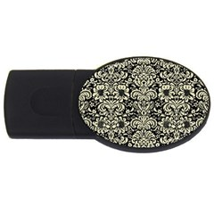 Damask2 Black Marble & Beige Linen Usb Flash Drive Oval (4 Gb) by trendistuff