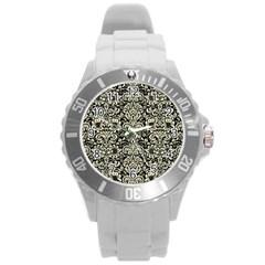 Damask2 Black Marble & Beige Linen Round Plastic Sport Watch (l) by trendistuff