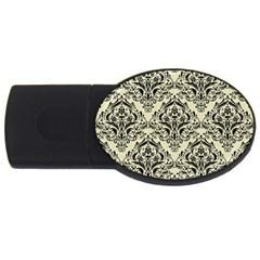 Damask1 Black Marble & Beige Linen (r) Usb Flash Drive Oval (4 Gb) by trendistuff