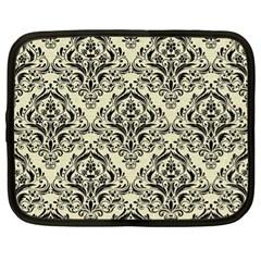 Damask1 Black Marble & Beige Linen (r) Netbook Case (xl) by trendistuff