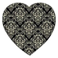 Damask1 Black Marble & Beige Linen Jigsaw Puzzle (heart) by trendistuff