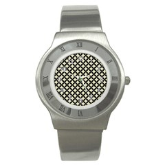 Circles3 Black Marble & Beige Linen (r) Stainless Steel Watch by trendistuff