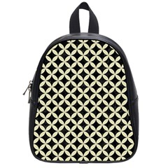 Circles3 Black Marble & Beige Linen School Bag (small) by trendistuff