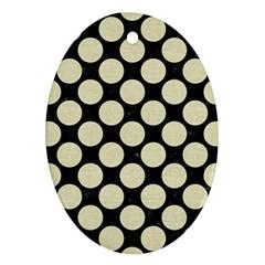 Circles2 Black Marble & Beige Linen Ornament (oval) by trendistuff