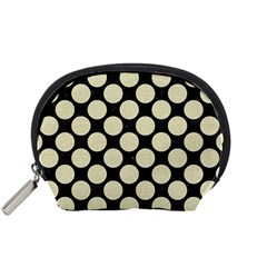 Circles2 Black Marble & Beige Linen Accessory Pouch (small) by trendistuff