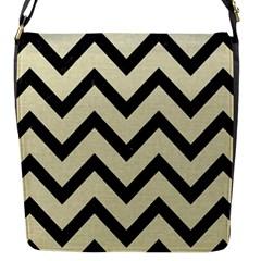 Chevron9 Black Marble & Beige Linen (r) Flap Closure Messenger Bag (s) by trendistuff