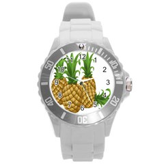 Pineapples Tropical Fruits Foods Round Plastic Sport Watch (l) by Nexatart