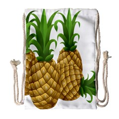 Pineapples Tropical Fruits Foods Drawstring Bag (large) by Nexatart