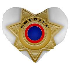 Sheriff S Star Sheriff Star Chief Large 19  Premium Heart Shape Cushions by Nexatart