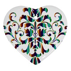 Damask Decorative Ornamental Heart Ornament (Two Sides)