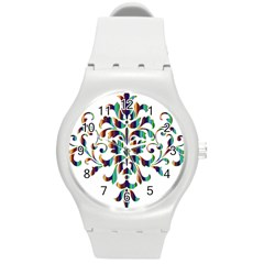 Damask Decorative Ornamental Round Plastic Sport Watch (m) by Nexatart