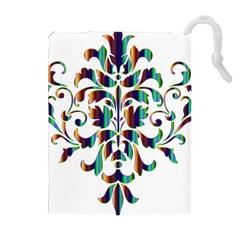 Damask Decorative Ornamental Drawstring Pouches (extra Large) by Nexatart