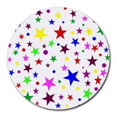 Stars Pattern Background Colorful Red Blue Pink Round Mousepads by Nexatart