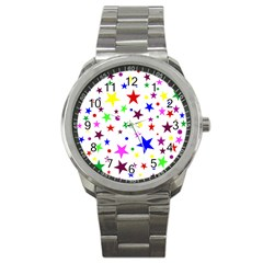 Stars Pattern Background Colorful Red Blue Pink Sport Metal Watch by Nexatart