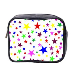 Stars Pattern Background Colorful Red Blue Pink Mini Toiletries Bag 2 Side by Nexatart