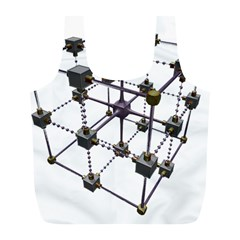Grid Construction Structure Metal Full Print Recycle Bags (l)  by Nexatart