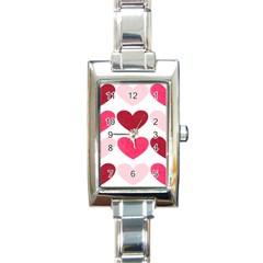 Valentine S Day Hearts Rectangle Italian Charm Watch by Nexatart