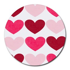Valentine S Day Hearts Round Mousepads by Nexatart