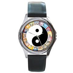Yin Yang Eastern Asian Philosophy Round Metal Watch by Nexatart