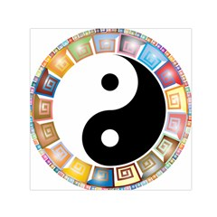 Yin Yang Eastern Asian Philosophy Small Satin Scarf (square) by Nexatart
