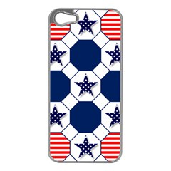 Patriotic Symbolic Red White Blue Apple Iphone 5 Case (silver) by Nexatart