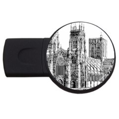 York Cathedral Vector Clipart USB Flash Drive Round (4 GB)