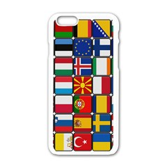 Europe Flag Star Button Blue Apple Iphone 6/6s White Enamel Case by Nexatart