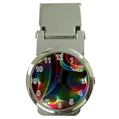 Abstract Rainbow Twirls Money Clip Watches by Nexatart