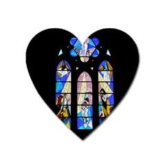 Art Church Window Heart Magnet by Nexatart